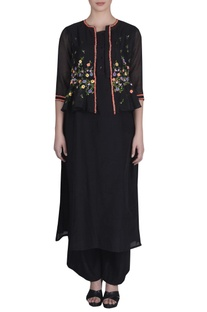 Embroidered Shrug With Kurta & Palazzos