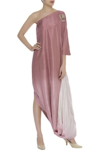 One shoulder cowl pleated dress