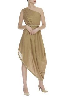 Cowl pleated one shoulder dress