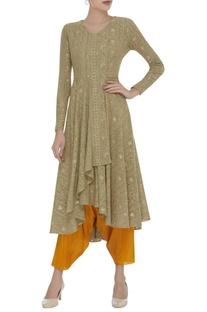 Embroidered asymmetric kurta with dhoti pants