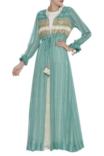 Embroidered long jacket kurta with inner