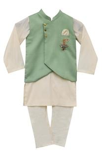 Embroidered nehru jacket with kurta & churidar