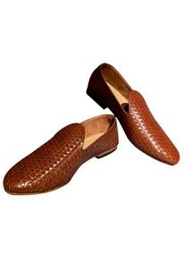 Textured Block Heel Loafers