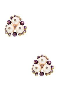 Empress warrior earrings in multicolored pearls