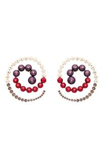Empress warrior pearl swirl earrings
