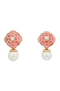 Floral rose petal pearl drop earrings