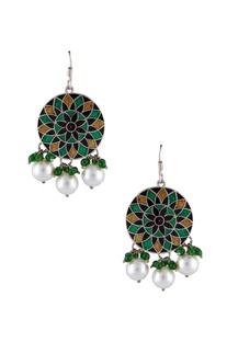 Meenakari painted dangling earrings