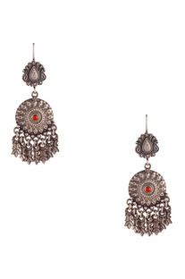 Antique ethnic earrings with dangling tribal accents