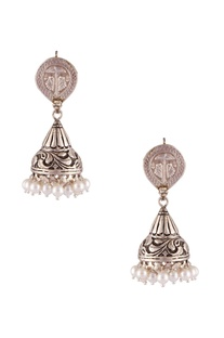 Antique finish jhumka statement earrings