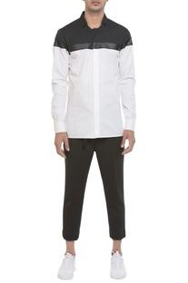 Leather panel long sleeve shirt