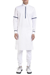 Long sleeve kurta with blue detailing