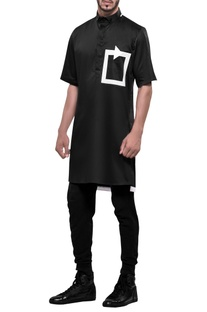 Tech-patterned short sleeve kurta