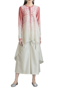 High-low ombre floral printed kurta