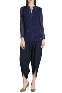 Short tunic with sequin embroidery
