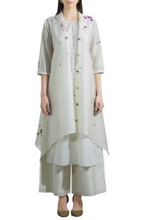 Chanderi silk kurta with printed jacket & pants