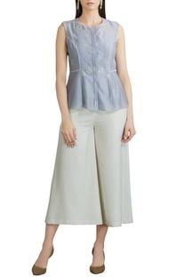Chanderi sleeveless blouse