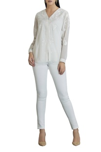 Georgette zipper embroidered blouse