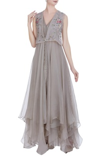 Organza asymmetric gown with jacket