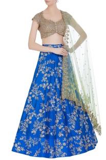 Raw silk sequin embroidered bridal lehenga set