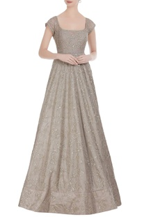 Sequin embroidered organza heavy gown
