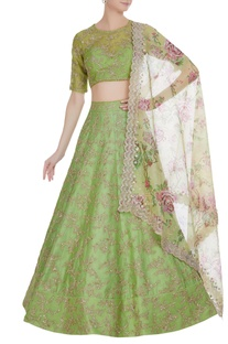 Organza sequin embroidered lehenga set