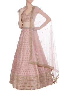 Organza zardozi & sequin embroidered lehenga set