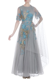 Embroidered net gown with dupatta