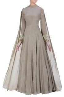 Floor length gown with drape dupatta