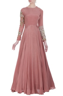 Anarkali gown with embroidered sleeves