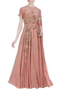 Embroidered gown with drape dupatta