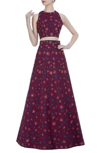 Floral printed lehenga with blouse