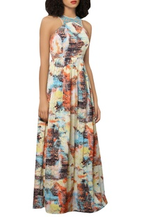 Crepe silk digital printed dress