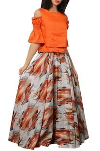Digital printed crepe flared maxi skirt