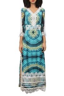 Digital printed maxi dress with tassels & lace