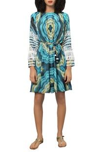 Digital printed tassel dress