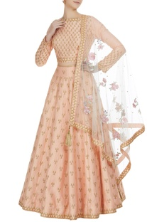 Gota embroidered lehenga with choli and parsi dupatta.