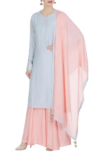 Mukaish embroidered kurta with sharara pants & dupatta.