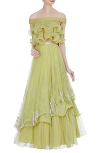 Off-shoulder ruffle blouse with double layer lehenga