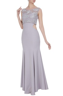 Mermaid fit cutout gown with tulle top