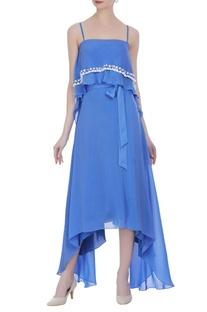 Spaghetti strap crepe silk dress