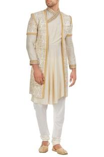 Tissue & matka silk aari hand embroidered sherwani set