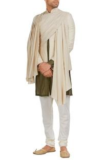 Jodhpuri jacket in draped layers