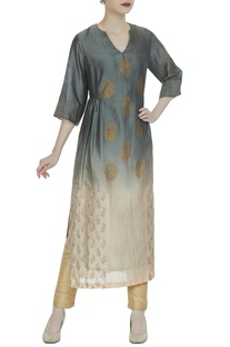 Ombre style kurta with block print