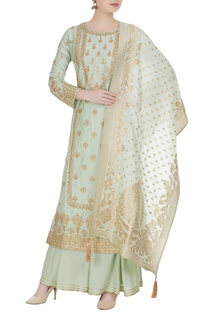 Embroidered kurta with dupatta and sharara