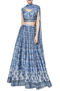 Printed chanderi silk sequin lehenga set