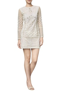 Net gota patti & dori embroidered dress