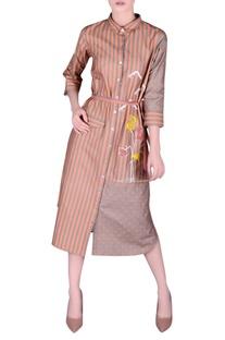 Khadi striped shirt dress