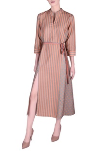 Khadi front slit stripe pattern dress