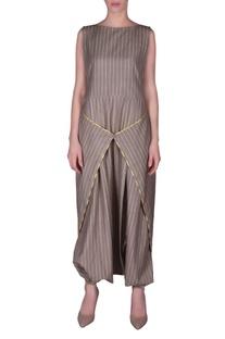 Stripe printed dhoti wrap layer jumpsuit