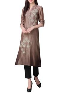 Ombre chanderi silk zari embroidered tunic